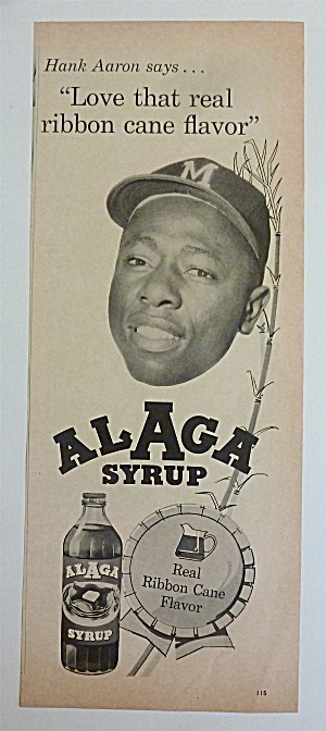 1962 Alaga Syrup With Baseball's Great Hank Aaron