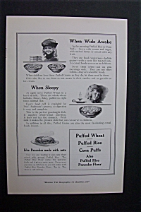 1920 Dual Ad: Puffed Wheat & Sanford's Library Paste