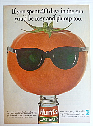 1968 Hunt's Catsup With A Tomato Wearing Sunglasses