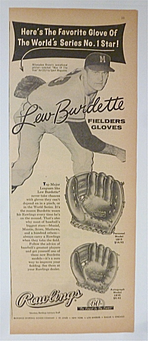 1958 Rawlings Fielders Glove With Lew Burdette