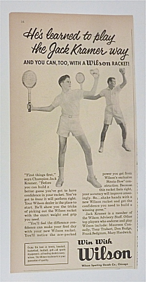 1958 Wilson Tennis Racket With Jack Kramer