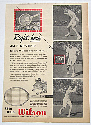 1960 Vintage Wilson Racket With Jack Kramer