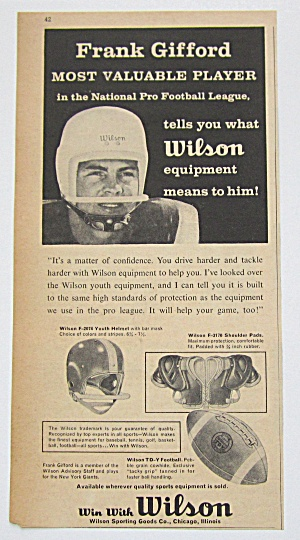 1958 Vintage Wilson Equipment With Frank Gifford