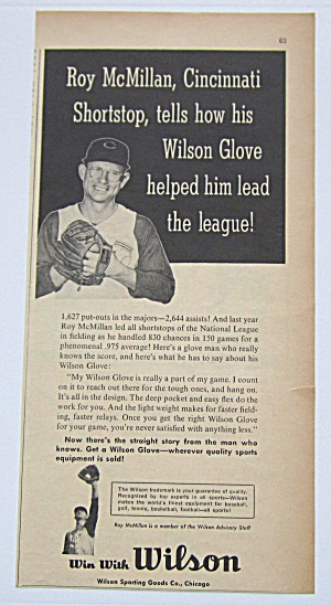 1958 Vintage Wilson Baseball Glove With Roy Mcmillan