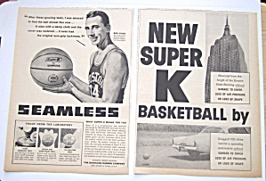 1958 Vintage Seamless Super K Basketball With Bob Cousy