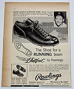 1959 Vintage Rawlings Fleetfoot W/ Mickey Mantle
