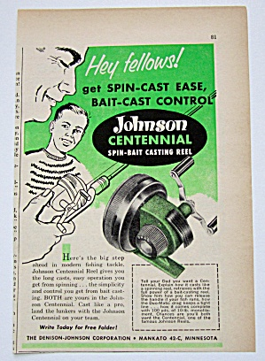 Vintage 1959 Johnson Centennial Spin Bait Casting Reel  (Image1)