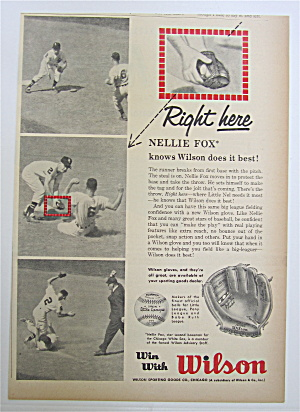 1959 Wilson Glove With Baseball's Nellie Fox