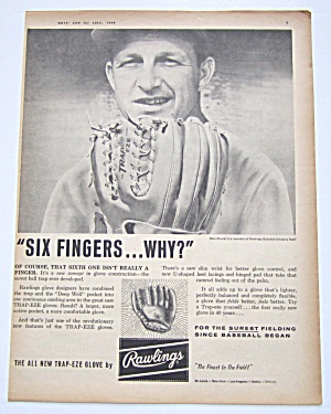 1959 Vintage Rawlings Trap-eze Glove With Stan Musial