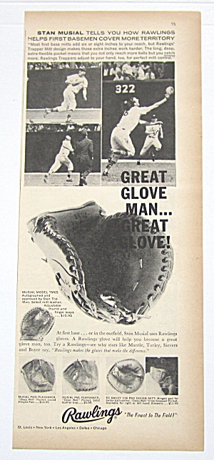 1959 Vintage Rawlings Baseball Glove With Stan Musial