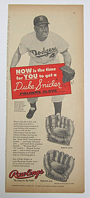 1958 Vintage Rawlings Fielders Glove With Duke Snider