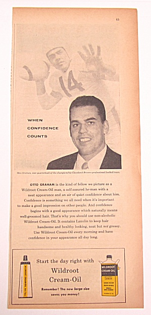 Vintage 1956 Wildroot Cream Oil W/ Otto Graham