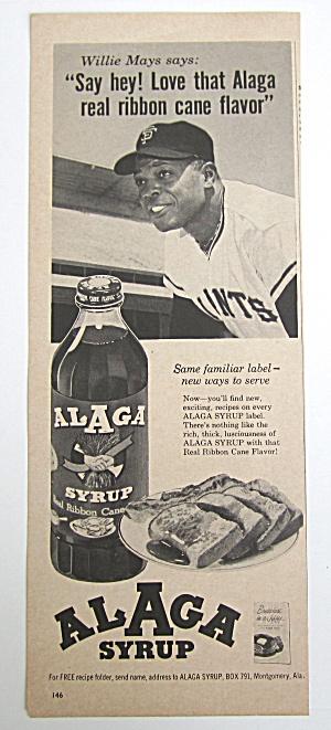 1963 Vintage Alaga Syrup W/ Willie Mays (Image1)