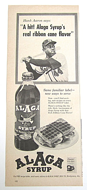 1963 Vintage Alaga Syrup With Hank Aaron (Image1)