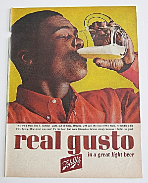 1963 Schlitz Beer With Man Drinking Glass Of Beer