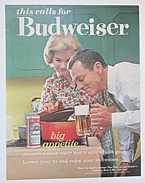 1963 Budweiser With Man Sniffing Dinner From Pot