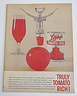 1963 Libby's Tomato Juice With Cork Screw, Glass & Can