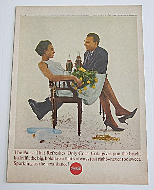 1963 Coca Cola With Man & Woman Sitting & Drinking