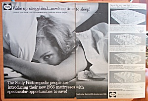 1966 Sealy Posturepedic With Woman Laying In Bed