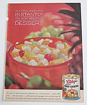 1963 Libby's Fruit Cocktail With Bowl Of Fruit