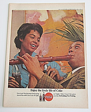 1963 Coca Cola With Man Playing Flute For Woman