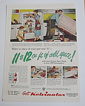 1950 Kelvinator With Woman & Girl Filling Fridge