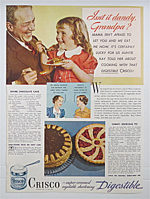 1937 Crisco Shortening W/ Little Girl & Man Having Pie