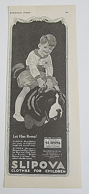 1921 Slipova Clothes With Boy Riding Dog