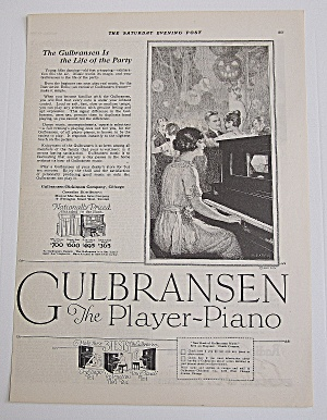 1922 Gulbransen Piano With Woman Playing Piano