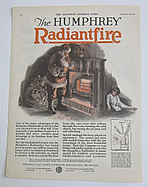 1925 Humphrey Radiant Fire With Santa Claus & Boy