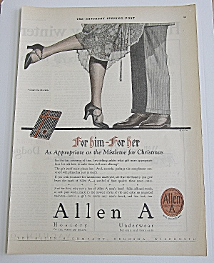 1924 Allen A Hosiery With Man & Woman's Legs