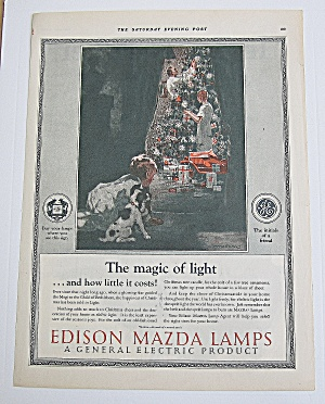 1925 Edison Mazda Lamps W/ Parents Decorating Tree