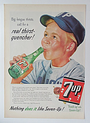 1956 7up (Seven Up) With Boy Drinking Bottle Of 7 Up