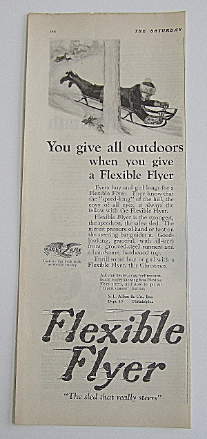 1924 Flexible Flyer With Boy Riding On Sled