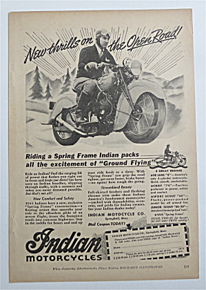 1941 Indian Motorcycles with Man Riding On A Motorcycle (Image1)