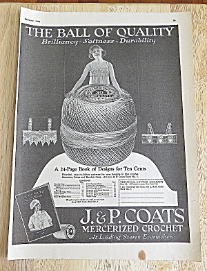 1923 J&p Coats With Woman & Ball Of Yarn