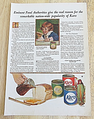 1921 Karo Syrup With Child Licking Bread