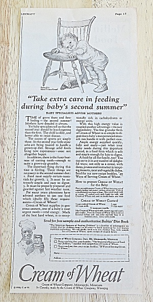 1925 Cream Of Wheat With Child Laying Head On Chair