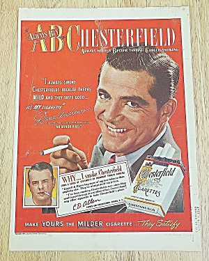 1949 Chesterfield Cigarettes With Dana Andrews