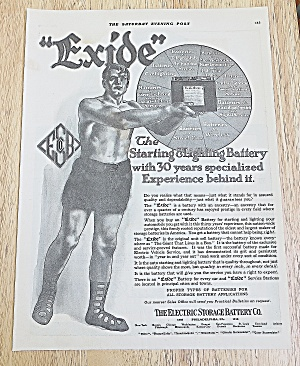 1918 Exide Battery With Man Holding Battery