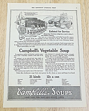 1918 Campbell's Vegetable Soup With A Campbell's Kid