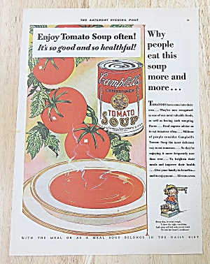 1929 Campbell's Tomato Soup With Bowl Of Soup