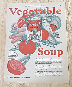 1926 Campbell's Vegetable Soup With Can Of Soup