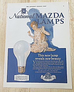 1928 Mazda Lamps With Woman Kneeling