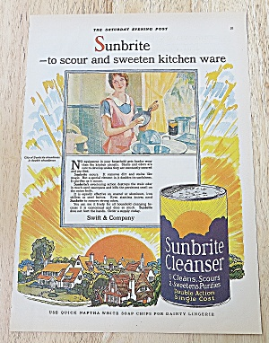 1928 Sunbrite Cleanser With Woman Doing Dishes