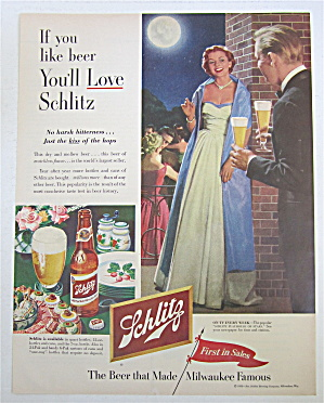 1953 Schlitz Beer with Man Bringing Woman Glass Of Beer (Image1)