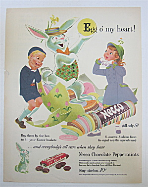 1953 Necco Assorted Wafers With Kids & Easter Bunny