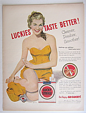 1953 Lucky Strike Cigarettes with Lovely Woman Smoking  (Image1)