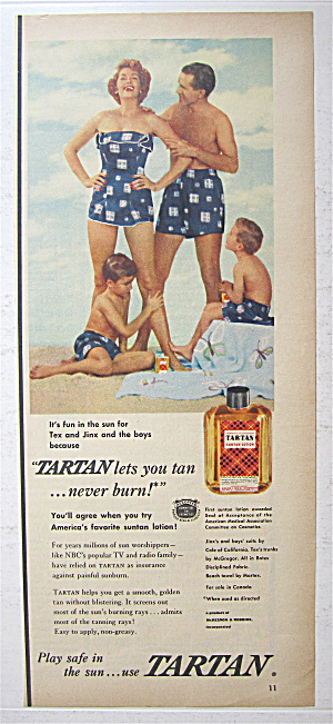 1953 Tartan Suntan Lotion With Family On The Beach