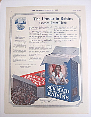1920 Sun Maid Raisins With 2 Boxes Of Raisins